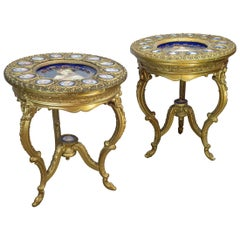 Pair of Austrian Royal Vienna Three-Legged Gilt Wood and Porcelain Parlor Table