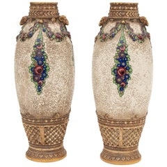 Pair of Austrian Secessionist Vases by Ernst Wahliss for Alexandra Porcelain