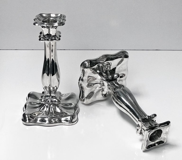 Pair of Austrian Silver Candlesticks, Vienna, 1840 In Good Condition For Sale In Toronto, Ontario