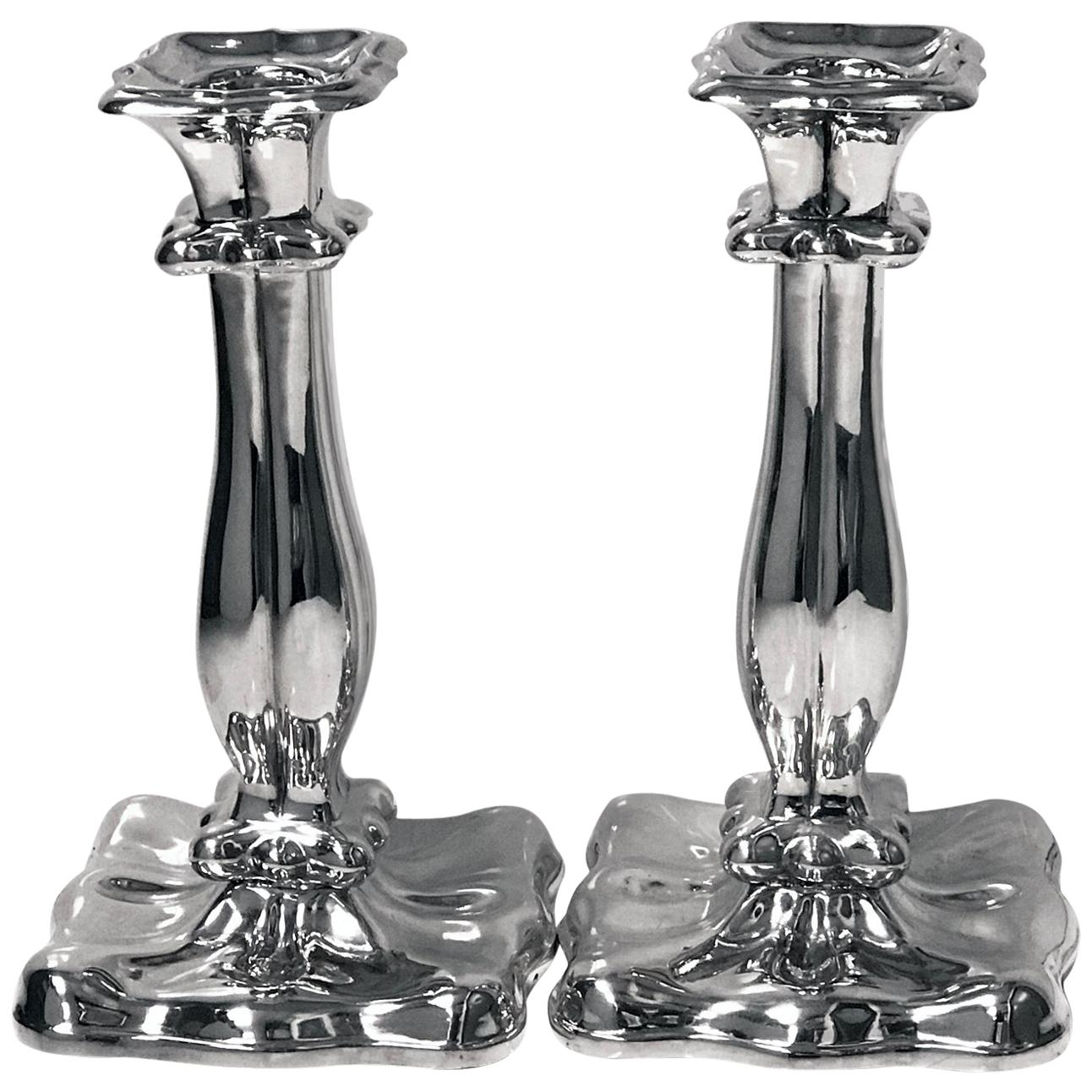Pair of Austrian Silver Candlesticks, Vienna, 1840