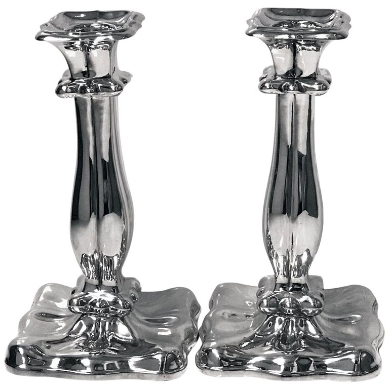 Pair of Austrian Silver Candlesticks, Vienna, 1840 For Sale