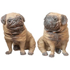 Pair of Austrian Terracotta Life Size Pug Dogs, circa 1890