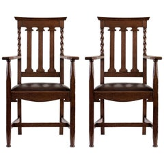 Pair of Austro-Croatian Large Carved Oak and Leather Jugendstil Armchairs