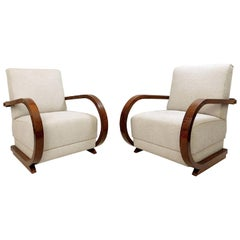 Pair of Austro-Hungarian Art Deco Armchairs, New Upholstery