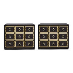 Pair of Authentic Dorothy Draper Espana Chests in Traditional Black Bean