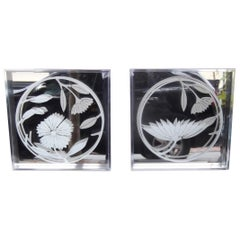 Pair of Authentic Greg Copeland Etched Mirror Wall Art, 1970s