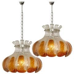 Pair of AV Mazzega Amber Glass Flower Chandeliers, Italy