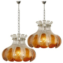 Pair of AV Mazzega Amber Glass Flower Chandeliers, Italy