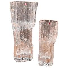"Pair of ""Avena"" Ice Glass Vases by Tapio Wirkkala for Iittala of Finland"