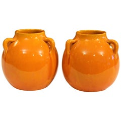 Pair of Awaji Pottery Vases in Warm Yellow Glaze