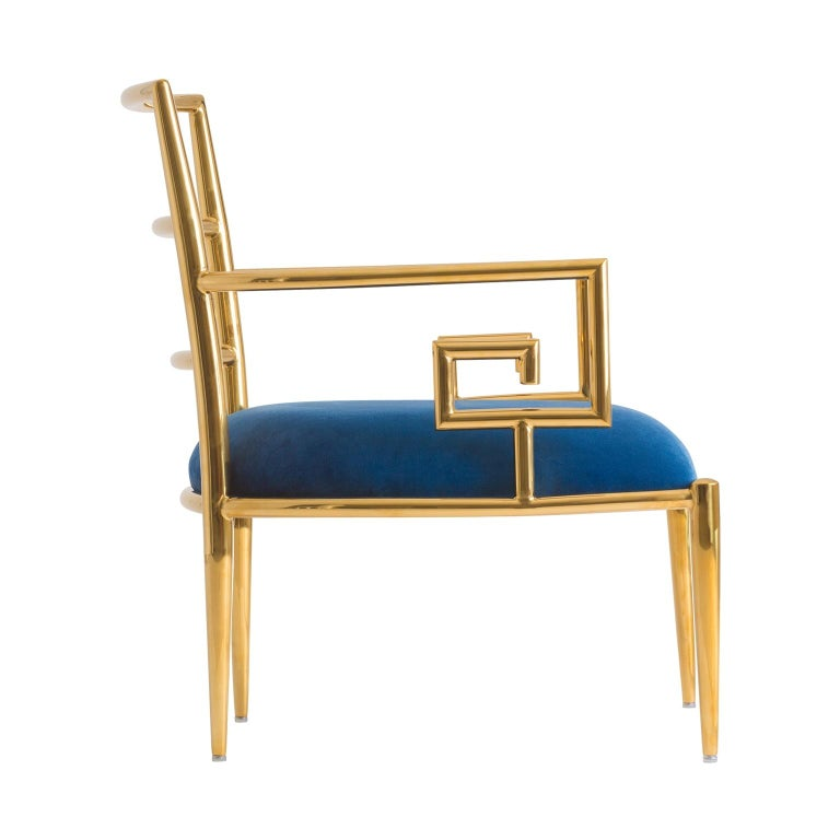 Art Deco Pair of Azure Blue Velvet and Gilded Metal Armchairs For Sale