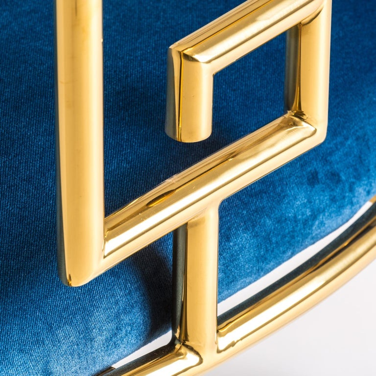 Pair of Azure Blue Velvet and Gilded Metal Armchairs In New Condition For Sale In Halluin, FR