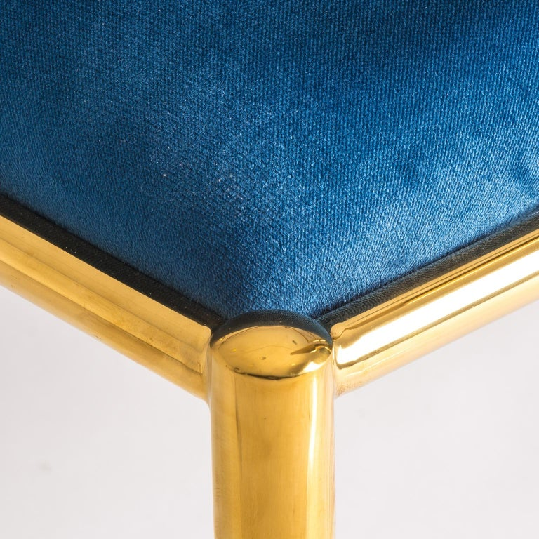 Contemporary Pair of Azure Blue Velvet and Gilded Metal Armchairs For Sale
