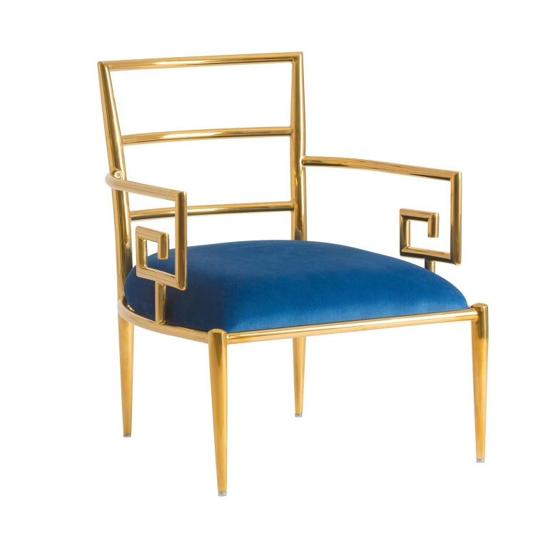 Pair of Azure Blue Velvet and Gilded Metal Armchairs For Sale 1