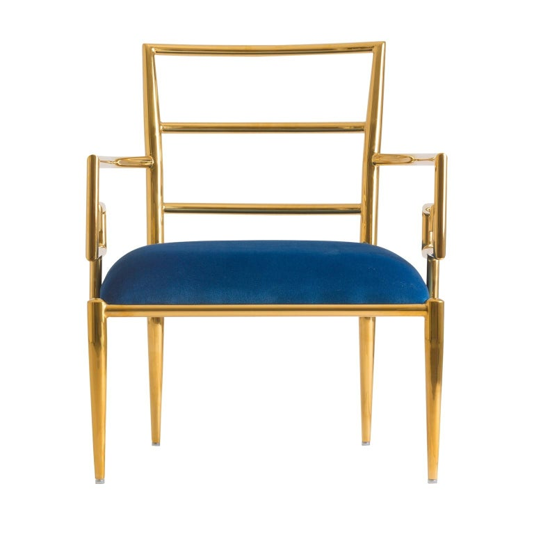 Pair of Azure Blue Velvet and Gilded Metal Armchairs For Sale 2