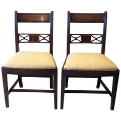 18th C. Pair 'b' Georgian Sheraton Period Dining Chairs Carved Inlaid Mahogany