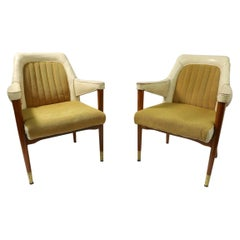 Pair of B L Marble Chair Company Leather Mid Century Desk Office Armchairs