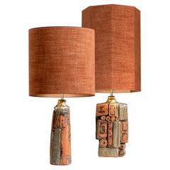 Pair of B. Rooke Ceramic Lamp with Custom Made Lampshade René Houben