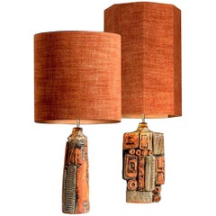 Pair of B. Rooke Ceramic Lamp with Custom Made Lampshade René Houben