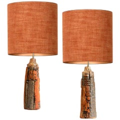 Pair of B. Rooke Ceramic Lamps with Custom Made Silk Lampshades by René Houben