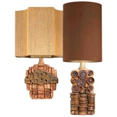 Pair of B. Rooke Ceramic Table Lamps with Custom Made Lampshade by René Houben