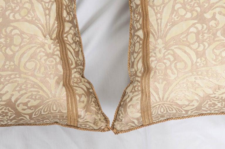 Gilt Pair of B. Viz Design Antique Fortuny Pillows For Sale