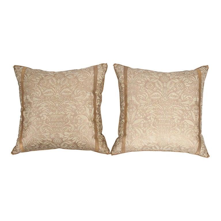 Pair of B. Viz Design Antique Fortuny Pillows For Sale