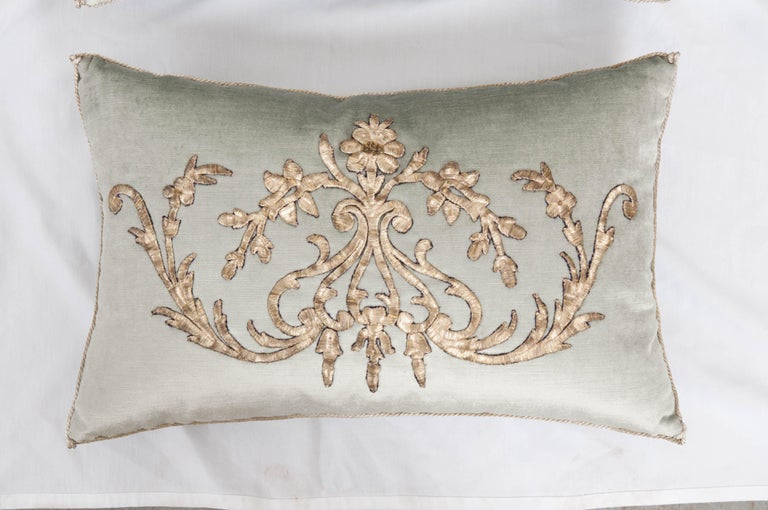 Antique Ottoman Empire raised silver metallic embroidery on pale French blue velvet. Hand-trimmed with vintage silver metallic cording which is knotted in the corners. Designed by Becky Vizard for B. Viz Designs. Note: These pillows are available