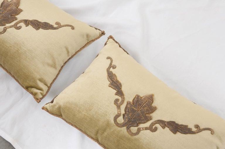 19th Century Pair of B. Viz Design Antique Textile Pillows For Sale