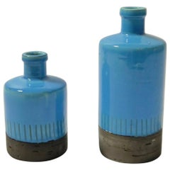 Pair of Baby Blue Ceramic Vases by JIE Gantofta, Sweden, 1960s