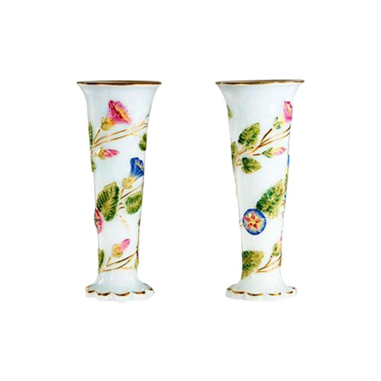 Pair of Baccarat 19th c. Opaline Vases For Sale