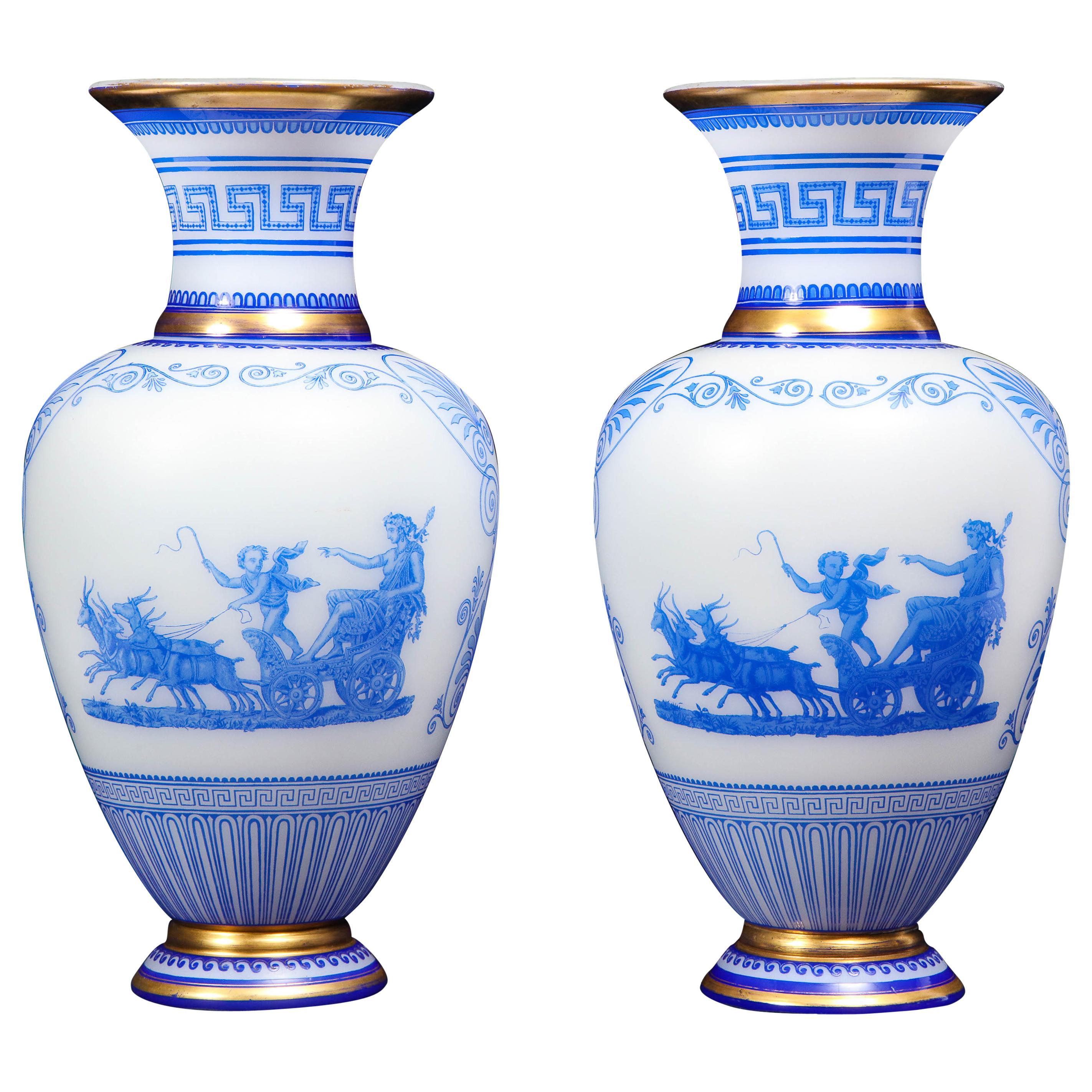 Pair of Baccarat Acid-Cameo Double-Overlay Blue-Cased White Opaline Glass Vases