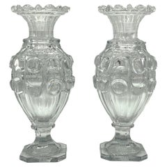 Pair of Baccarat Attributed Cut Crystal Vases