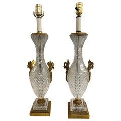 Pair of Baccarat Crystal & Gilt Bronze Table Lamps with Swan Ormolu, circa 1930s