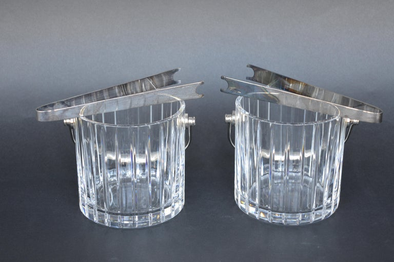 French Provincial Pair of Baccarat Crystal Ice Buckets  For Sale