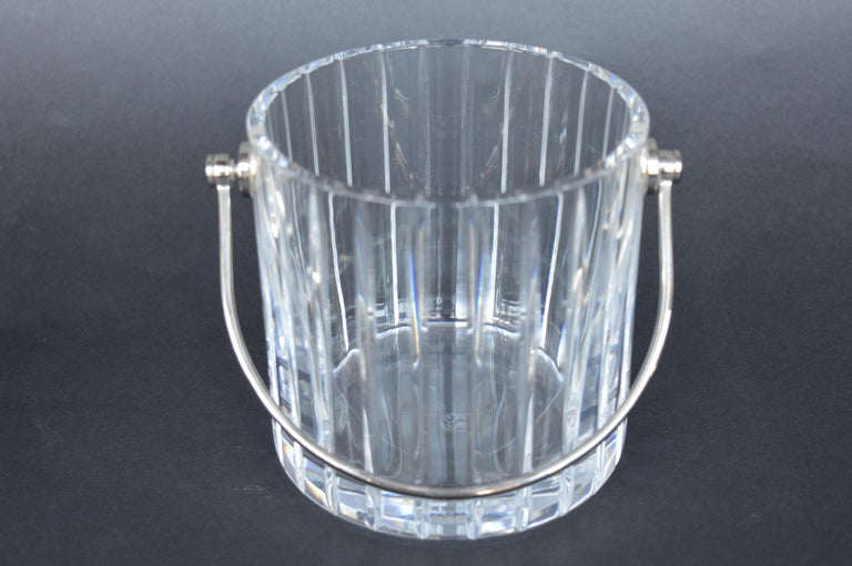 French Pair of Baccarat Crystal Ice Buckets  For Sale