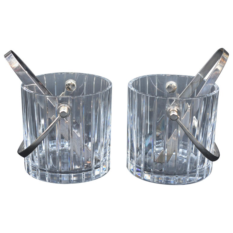 Pair of Baccarat Crystal Ice Buckets  For Sale