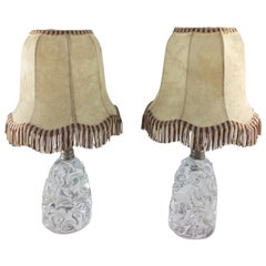 Pair of Baccarat Sculpted Crystal Table Lamps, Midcentury circa 1950s