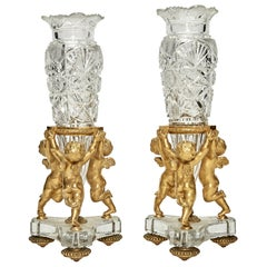 Pair of Baccarat Gilt-Bronze Mounted Cut Glass Figural Vases