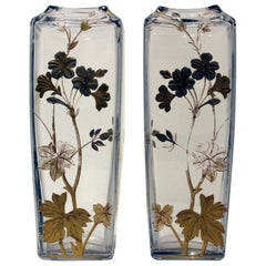 Pair of Baccarat Glass Vases Signed