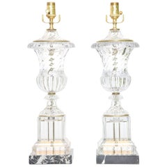 Pair of Baccarat Spiral Urn Table Lamps