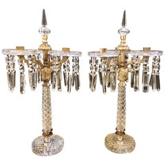 Pair of Baccarat Style Crystal Three-Arm Candelabras