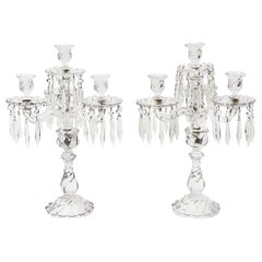 Pair of Baccarat Style Elaborate Cut Crystal Candelabra with Prisms Swirl Base