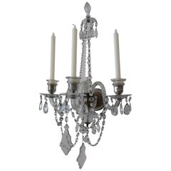 Pair of Baccarat Style Three Arm Crystal Wall Sconces