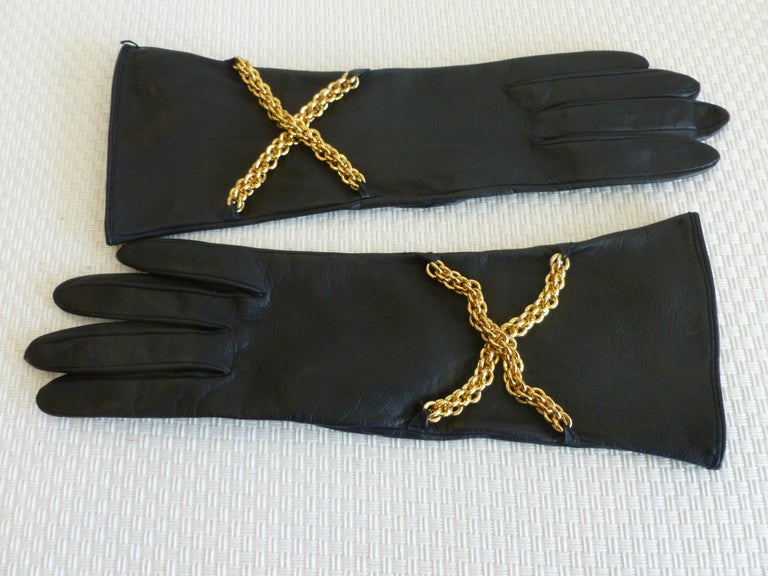 d6c7223b72960 These stunning and truly never worn black leather Paloma Picasso gloves  have criss cross brass chains