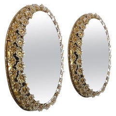 Pair of Backlit Flower Mirrors, Gilt Brass Crystals, 1970