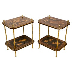 Pair of Bagues Black Chinoiserie and Brass End Tables