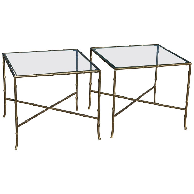 Pair of Baguès Faux Bamboo Occasional Tables For Sale