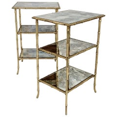 Pair of Bagues Faux-Bamboo Three-Tier Side Tables, circa 1950, France