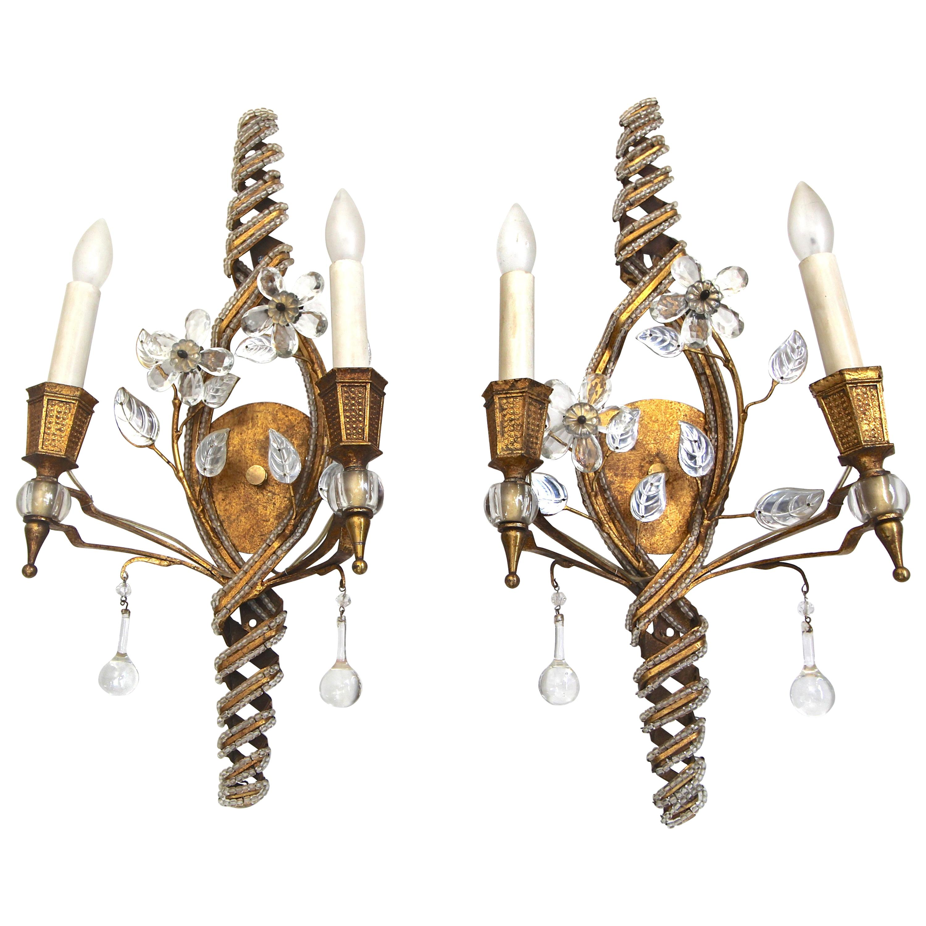Pair of Baguès French Beaded Crystal Flower Gilt Iron Wall Sconces